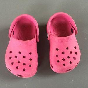 Pink toddler crocs